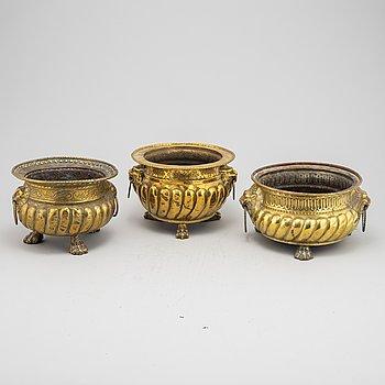 A set of three 19th Century brass planters.