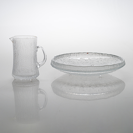 """Tapio wirkkala, an """"ultima thule"""" serving bowl and pitcher, iittala. design year of the series 1968."""