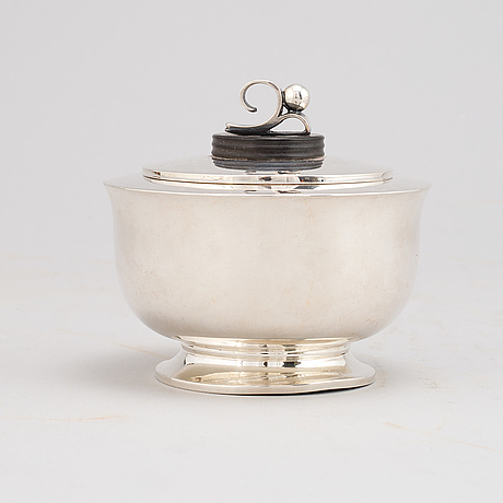 A norwegian mid 20th century sterling silver lided bowl.