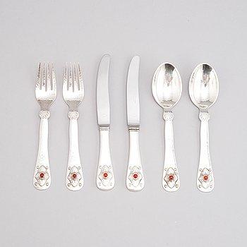 Six silver utensils for children, Georg Jensen, Denmark.