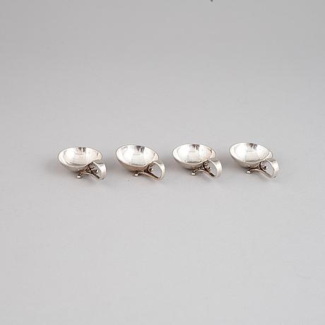 Four silver salt cellars from georg jensen.