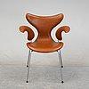 Arne jacobsen, a 'lily' leather chair, fritz hansen, denmark.