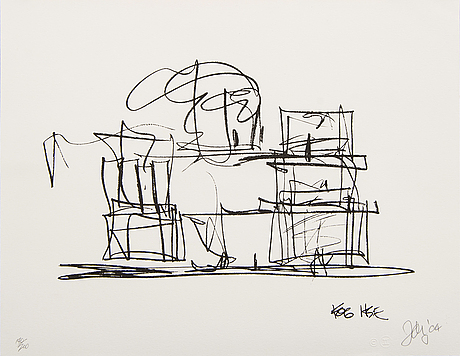 Frank gehry, litograhp signed and numbered 140/200.