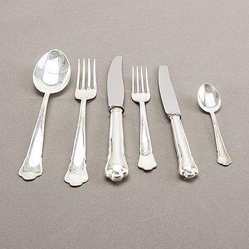 A Swedish 20th century set of 54 pcs of silver cutlery mark of GAB Simrishamn 1970s total weight 1600 gr.