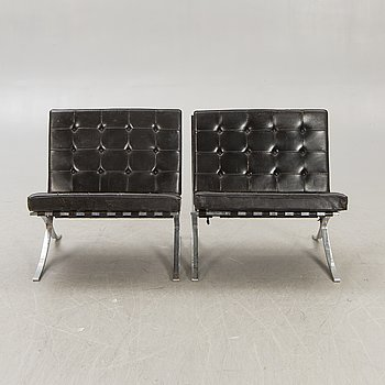 Ludwig Mies van der Rohe a pair of Barcelona chairs for Knoll mid 1900s.