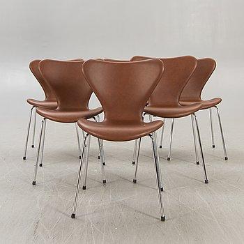 """Arne Jacobsen, chairs 6 """"Seven"""" for Fritz Hansen Denmark in the latter part of the 20th century."""