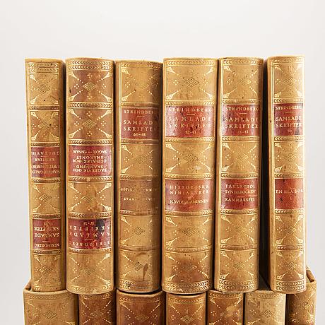 """A set of 36 volumes """"samlade skrifter av august strindberg"""" 1919."""