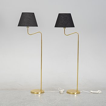 A pair of brass floor lamps, Bergboms Scanlight AB, second half of the 20th century.