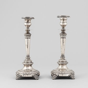 A pair of silver candle sticks, GAB Stockholm 1884.