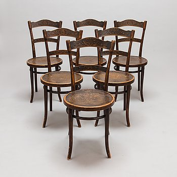 A set of six Viennese Thonet chairs, early 1900s.