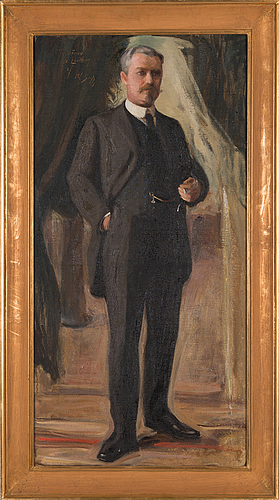 Wilho sjöström, oil on canvas, signed with dedication.