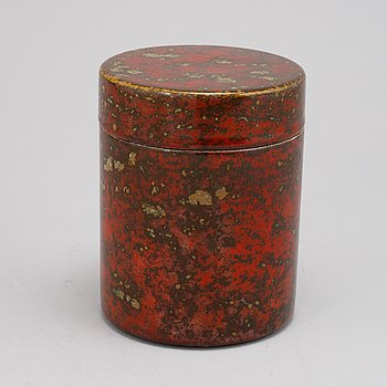 Hans Hedberg, a faience box with cover, Biot, France.