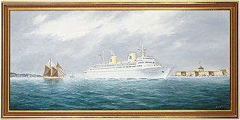 Skeppsporträtt av Otto Andersson, olja på duk.