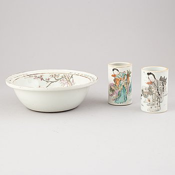 A famille rose basin and two brushpots, China, early 20th Century.