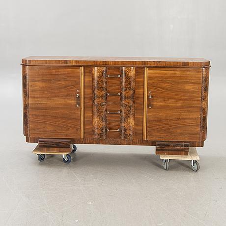 A walnut art deco 1940s sideboard.