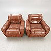 Armchairs, a pair, 1970s-80s, probably italy.