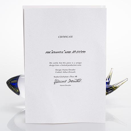 Skulptur, glas, signerad, formgivare hanne dreutler, glasblåsare arthur zirnsack, studio åhus 2002.