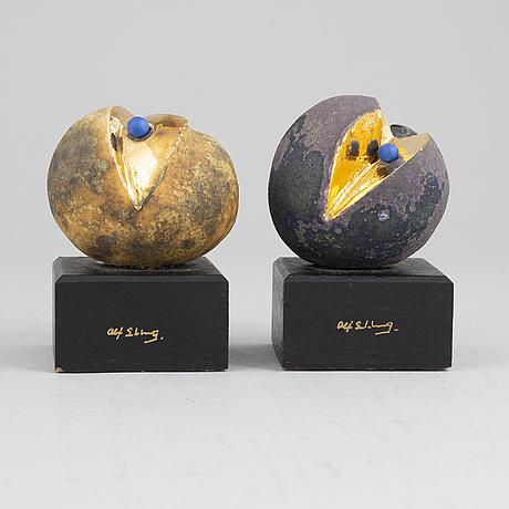Alf ekberg, two signed stoneware sculptures.
