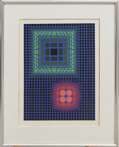 Victor vasarely, lithograph in colours signed and numbered 47/250.