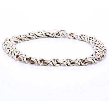 Necklace silver, approx 42 x 1,5 cm, 181 g.