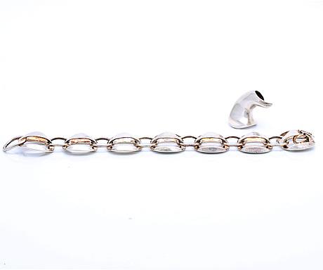 Bracelet alton and pendant georg jensen, silver.