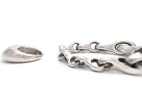 "Lynggaard, bracelet and ring sterling silver, ""giga""."