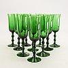 Simon gate, a set of 10 champagne glass orrefors sandvik mid 1900s.