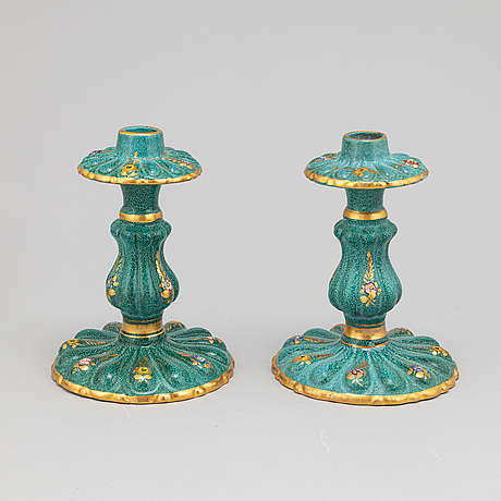 A pair of earthenware candlesticks and a bowl, deruta, italy, second half of the 20th century.