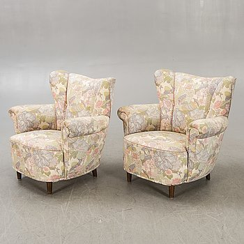 Armchairs, a pair, 1940s.