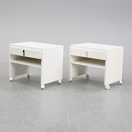 A pair of 'avanti' bedside tables, dux, 1980's.