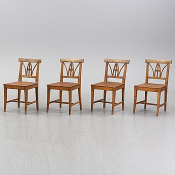 A set of four pine chairs, 19th Century.