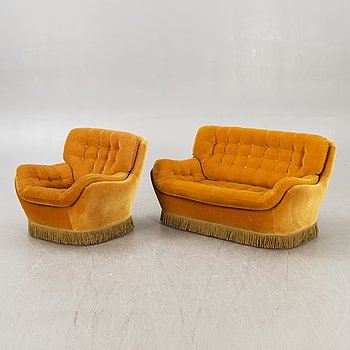 Sofa, 2 seats and armchair, Swedfurn / Slätt möbler Töreboda, 1970s.