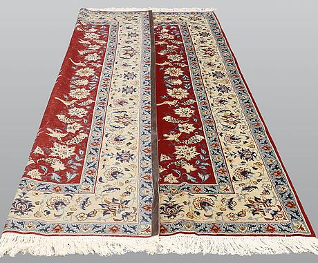 A carpet, figural yazd, ca 318 x 213 cm.