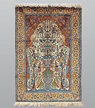 A rug, Figural Silk Oriental,ca 183 x 125 cm.