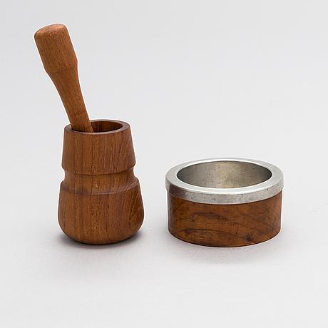Bertel gardberg, a bowl for hopeatehdas, helsinki and a mortar, finnmade gardberg, norrmark handicraft.