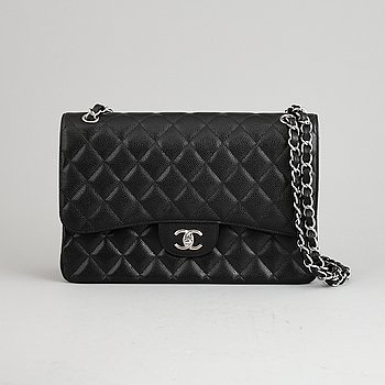 Chanel, a black caviar 'Jumbo Double Flap Bag', 2018.