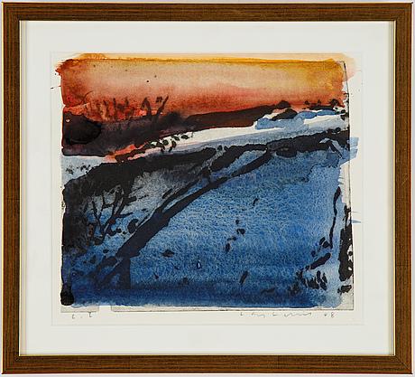 Lars lerin, wood cut with hand colouring, 2008, signerad lars lerin et.