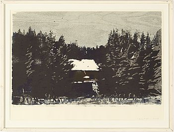 Lars Lerin, wood cut in colours, signed.