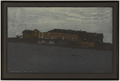 Lars lerin, wood cut in colours, 1997, signed pt.