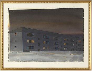 Lars Lerin, watercolour, signed 1993.