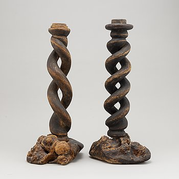 A pair of  wood candlesticks, 1800's.