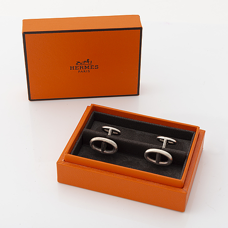 Hermès, a pair of sterling silver cufflinks.