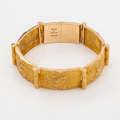 """Björn weckström, """"velvet clouds"""", a 14k gold bracelet. lapponia 1969."""