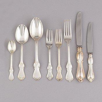 A Swedish silver cutlery service, model 'Olga', mark of GAB (86 pieces).
