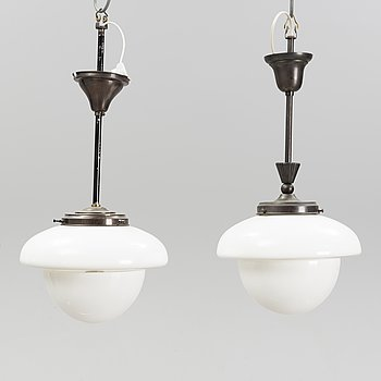 A pair of glass and patinated brass ceiling lights, Asea, 1930's.