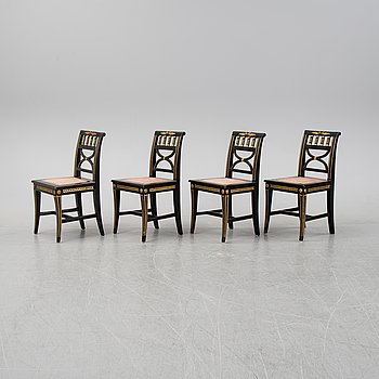 A set of four Late Gustavian chairs from Lindome, around year 1800.