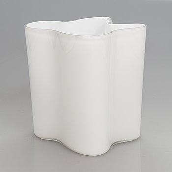 Alvar Aalto, A signed white mould blown glass vase, Iittala, Finland, model 3031.