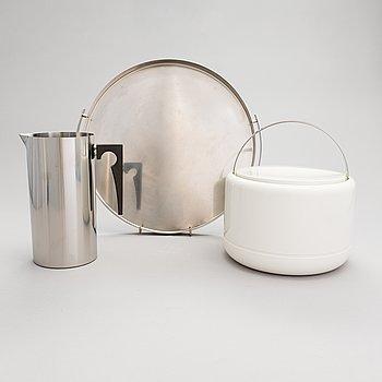 "Stelton, 3 parts, Arne Jacobsen, ""Cylinda-Line"" and Erik Magnussen, ice bucket, Denmark, 1960s-70s."
