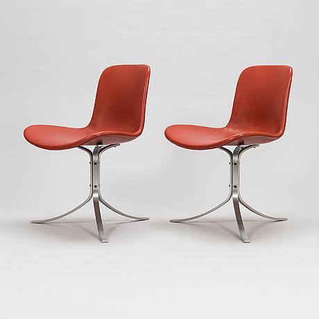 "Poul kjaerholm, tuoleja, 6 kpl, ""pk 9"" fritz hansen, tanska 1900-luvun loppu."