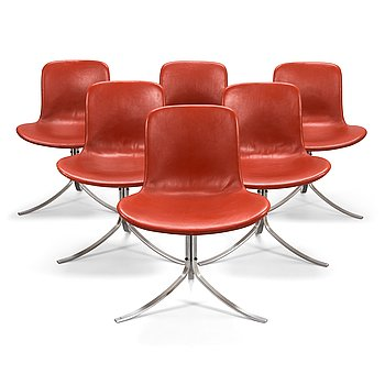 Poul Kjaerholm, a set of six late 20th century 'PK 9' chairs for Fritz Hansen.